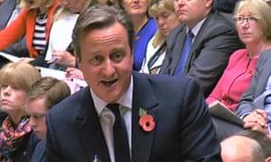 David Cameron answers a question