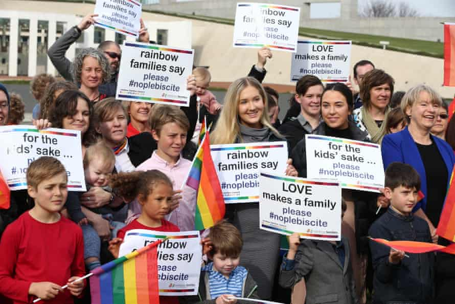 Rainbow Families lobbying against a plebiscite on same-sex marriage in September 2016.
