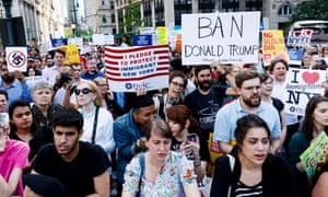 People gather in New York to protest the travel ban.