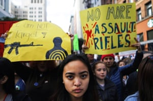 Young activists during the March for Our Lives rally in Los Angeles, California.