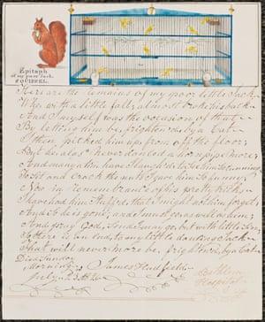 James Hadfield, Epitaph, of My Poor Jack, Squirrel II, 1834