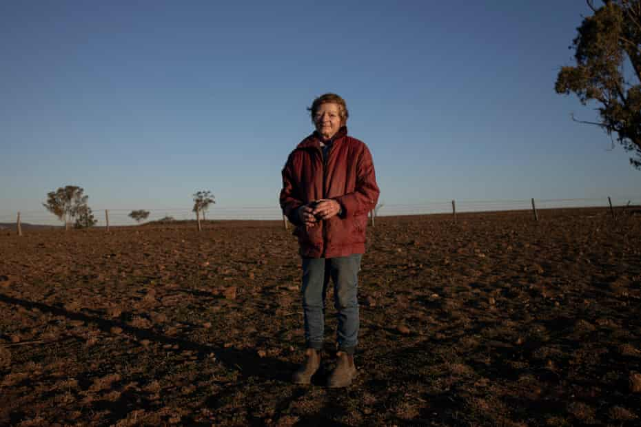 Coral Jerry on the severely drought affected property Maryborough