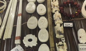 Ivory products marked 'made in Japan' on sale at a shop in Tokyo's tourist area.