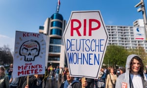 Demonstrators against rent increases in Berlin.