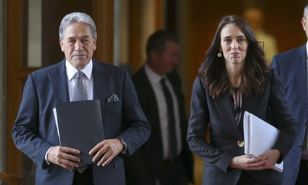 Jacinda Ardern, right, with deputy prime minister Winston Peters, a strong supporter of referenda as a way of making political decisions.