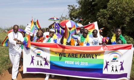 Members of the LGBT community parade in Entebbe, Uganda