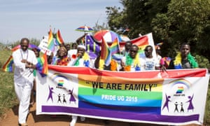 People who identify themselves as members of the LGBT community parade in Entebbe, Uganda, in 2015