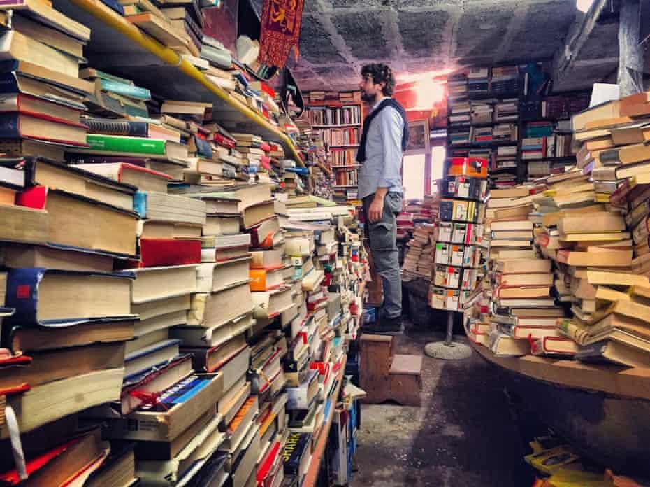 Interior of Acqua Alta bookshop in Venice, Italy.