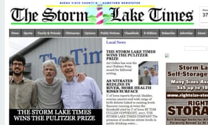 A front page screen shot of Iowa's Storm Lake Times, which has won a Pulitzer Prize.