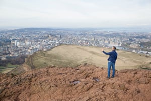 Omar takes a selfie at Arthurs Seat, Edinburgh. Omar, 32, Syria is currently living with host Chris