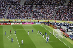 Marco Materazzi heads the ball past Fabien Barthez for the equaliser.