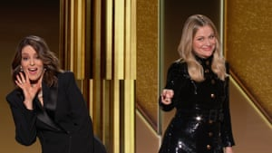 A screengrab shows co-hosts Tina Fey and Amy Poehler, who were hosting from New York and Los Angeles, respectively