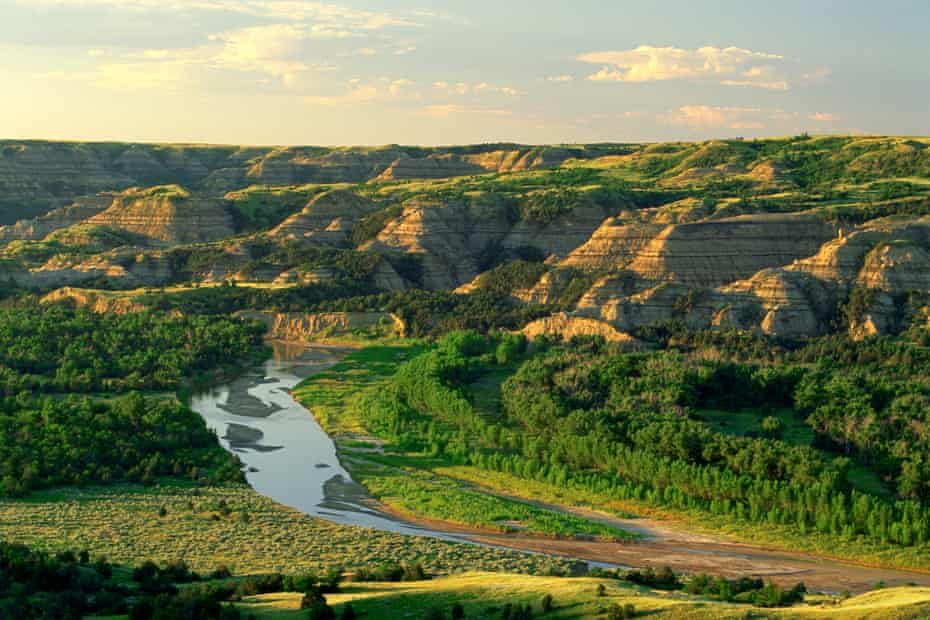 The Little Missouri river flows through Theodore Roosevelt national park
