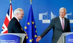 David Davis and Michel Barnier address the media prior to the third round of Brexit talks in Brussels