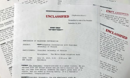 A White House-released memorandum of Donald Trump's telephone conversation with Volodymyr Zelenskiy.
