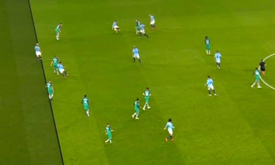 Sergio Agüero was ruled offside at the point the ball hit his team-mate Bernardo Silva, following a backwards pass from Christian Eriksen.
