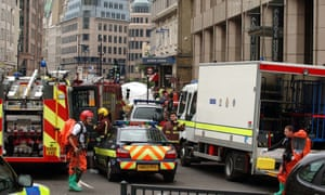 Emergency services at Aldgate station in London following the 7/7 bombings