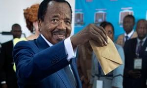 Cameroon's president Paul Biya casts his ballot