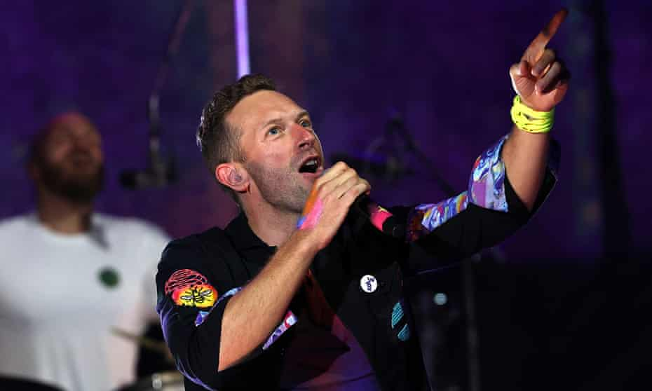Chris Martin performing with Coldplay at Shepherd's Bush Empire.