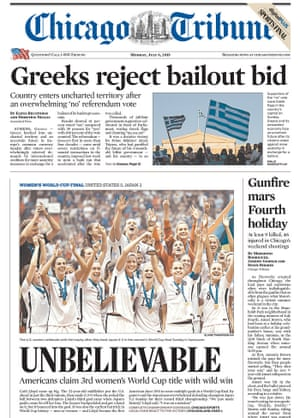 chicago tribune world cup front page
