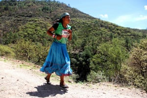 A Raramuris woman takes part in the Ultra marathon of the Canyons, Mexico
