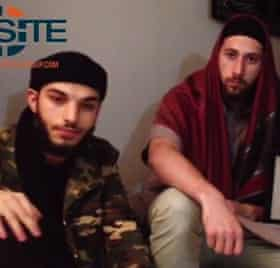 A still from a video released via Isis's news channel, claiming to show the two attackers Adel Kermiche and Abdel Malik P.
