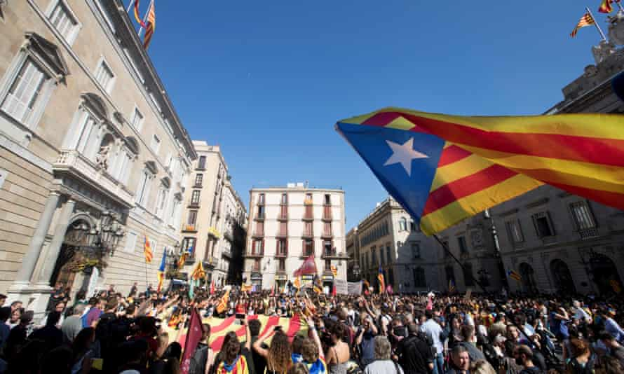 Protesters gathered in Barcelona on Thursday