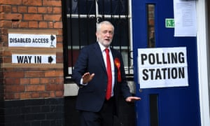 Jeremy Corbyn arrives to cast his vote at the Pakeman Primary School polling station in Islington