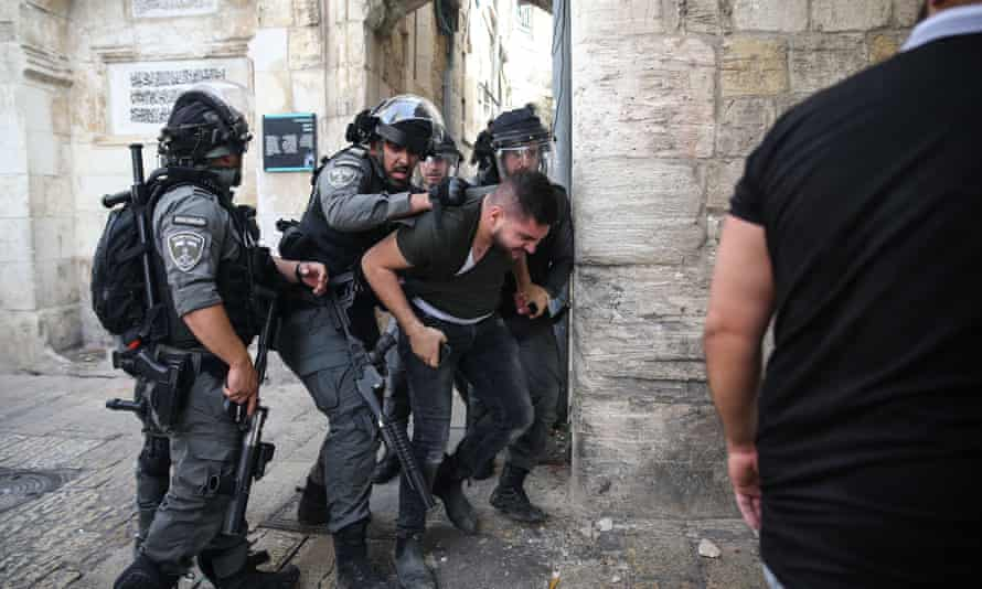 Israeli police near the Lion Gate of East Jerusalem.