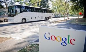 Bus passing Google campus
