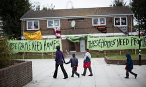 Four years after the protest by Focus E15 pictured here, more than 400 homes lie empty in the Carpenters estate.