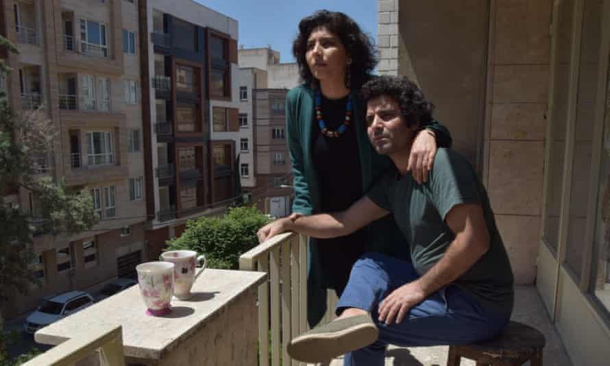 Filmmakers Sara Khaki and Mohammad Reza Eyni on their balcony during coronavirus lockdown