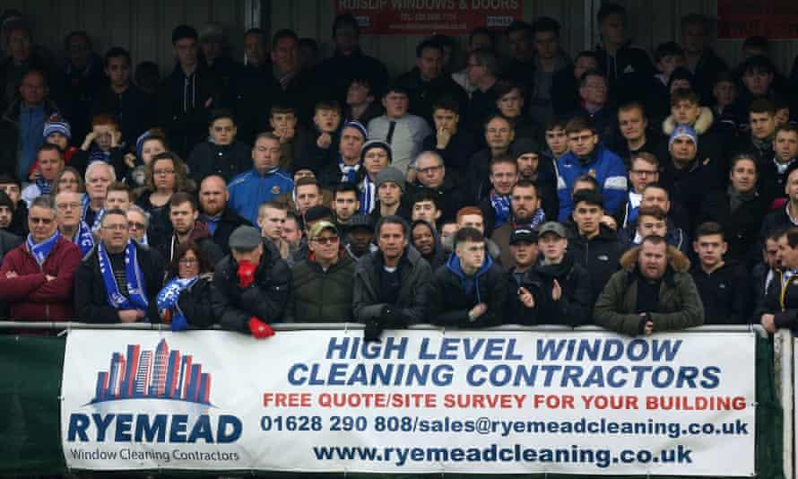 Wealdstone fans watch a home game against Brackley in March 2018.