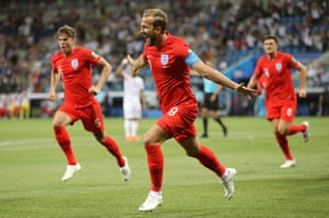 The Tottenham striker runs off in celebration. England have been so sharp, they deserve that lead already.