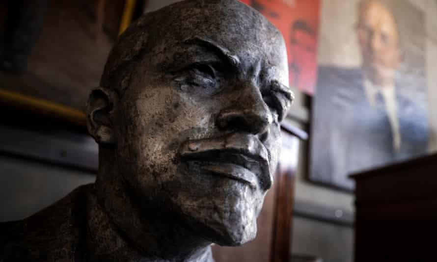 A bust of Lenin is on display before being auctioned, among hundreds of Cold War relics from the KGB Espionage Museum at Julien's Auctions in Beverly Hills, California, USA, 08 February 2021.