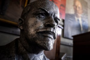 A large pewter bust of Vladimir Ilyich Lenin, former leader of Soviet Russia from 1917-1924