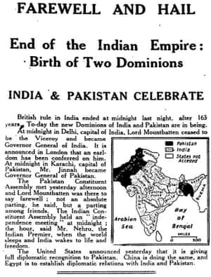 Manchester Guardian, 15 August 1947.