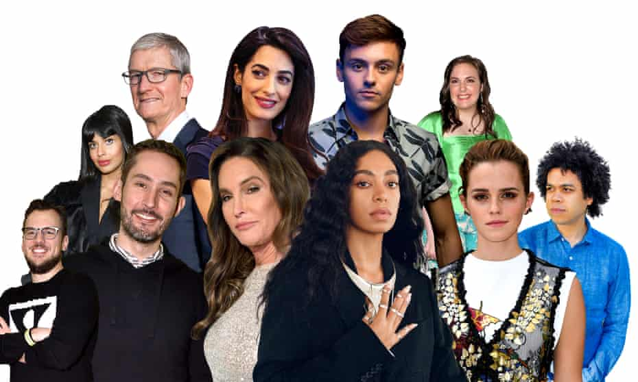 Clockwise from top left: Jameela Jamil; Tim Cook; Amal Clooney; Tom Daley; Lena Dunham; Micah White; Emma Watson; Solange Knowles; Caitlyn Jenner; Kevin Systrom; Mike Krieger.