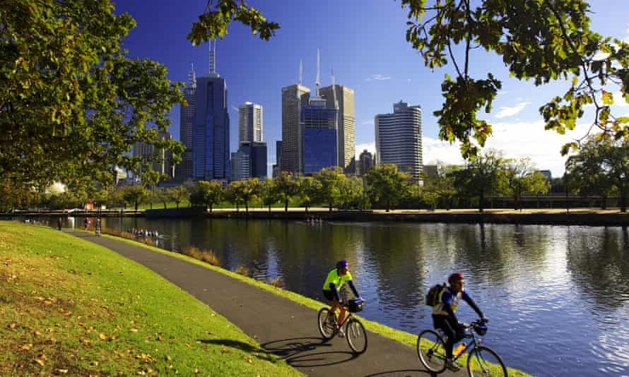 Cyclists by the Yarra River, Melbourne