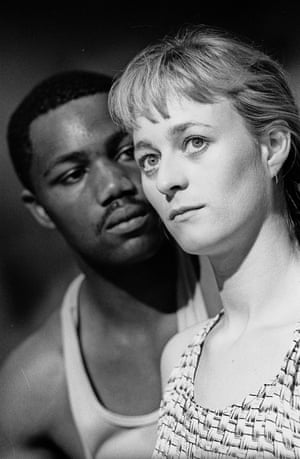 Nicholas Monu and Lizzy McInnerny in Talking in Tongues by Winsome Pinnock, directed by Hettie MacDonald in 1991.