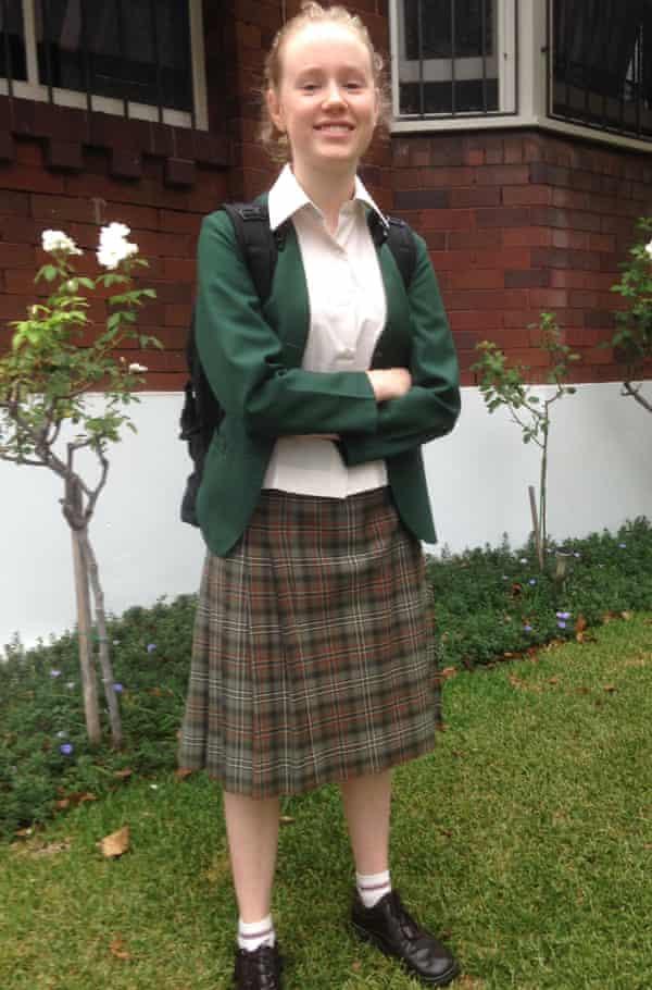 Georgia Robinson in her full high-school uniform