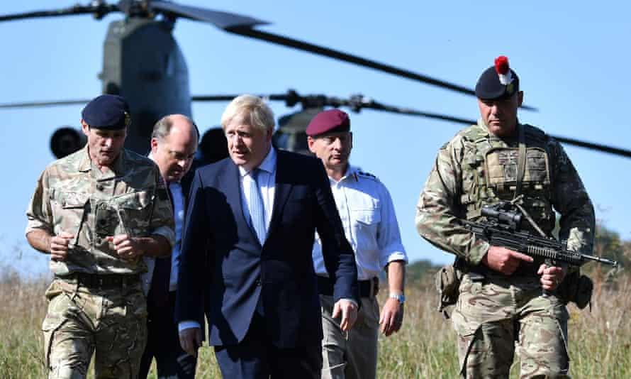 Boris Johnson visiting a military training site near Salisbury, September 2019