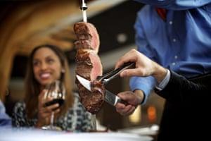 Picanha (rump cap), many Brazilians' favourite cut of beef, at the Fogo de Chão churrascaria