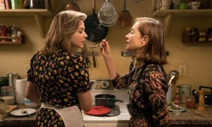 Isabelle Huppert 'seems to be having an absolute ball'. With Chloë Grace Moretz in Greta.