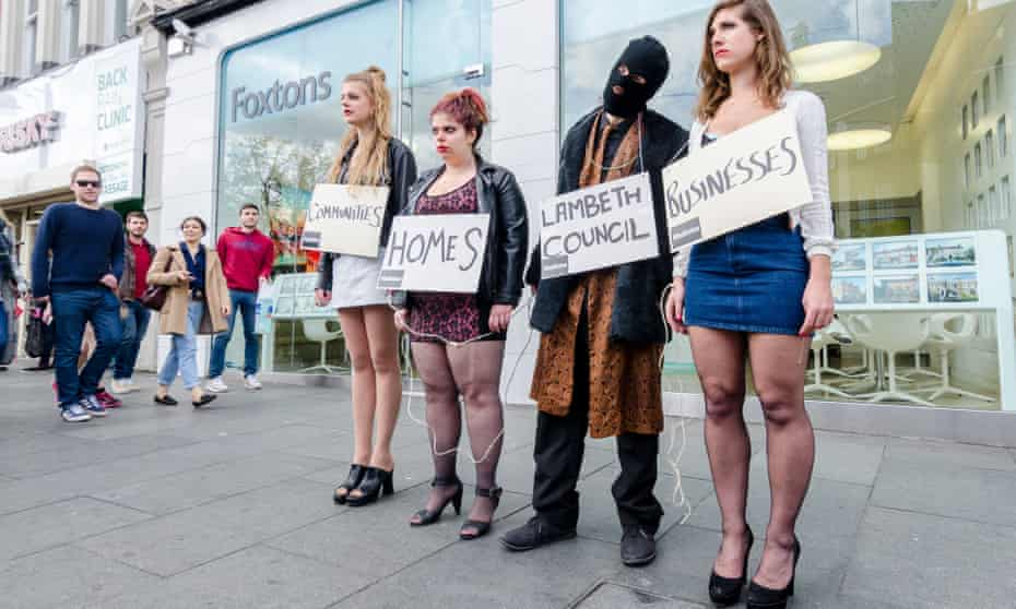 Anti-gentrification protesters in Brixton, April 2015.