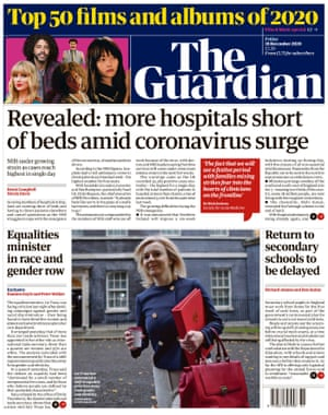 Guardian front page, Friday 18 December 2020