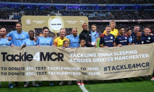 Vincent Kompany with the Manchester City Legends and Premier League All-Stars XI teams before his testimonial match.