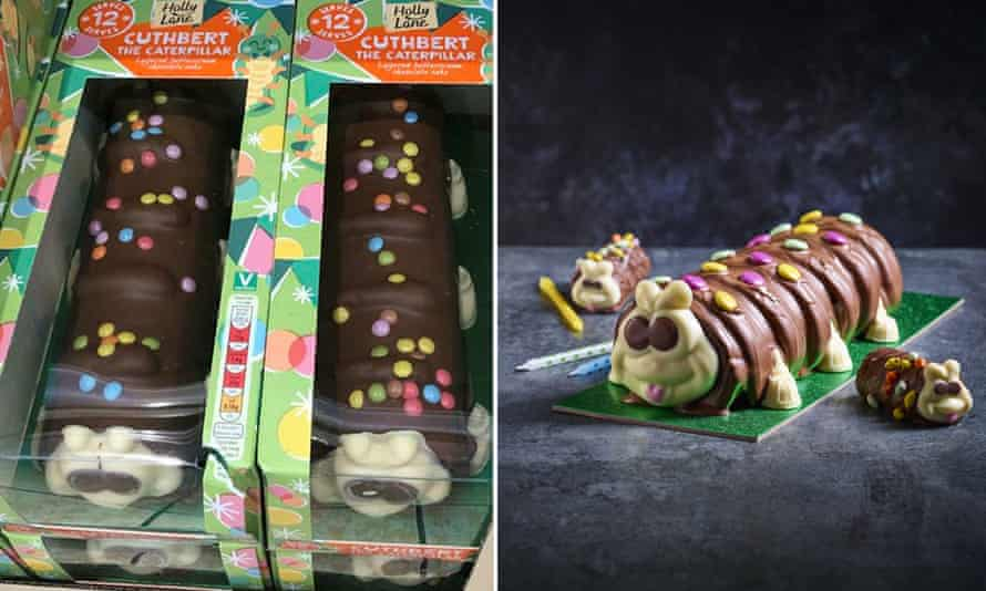 composite of Cuthbert cake and Colin the Caterpillar cake