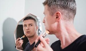 Justin Myers taking on men's makeup.