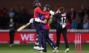 Sophia Dunkley and Katherine Brunt celebrate the series win.